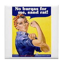No Burqas Rosie Riveter Tile Coaster
