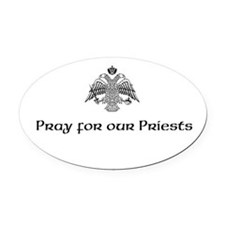 Funny Priest Oval Car Magnet