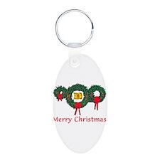 Scotland Christmas 2 Aluminum Oval Keychain
