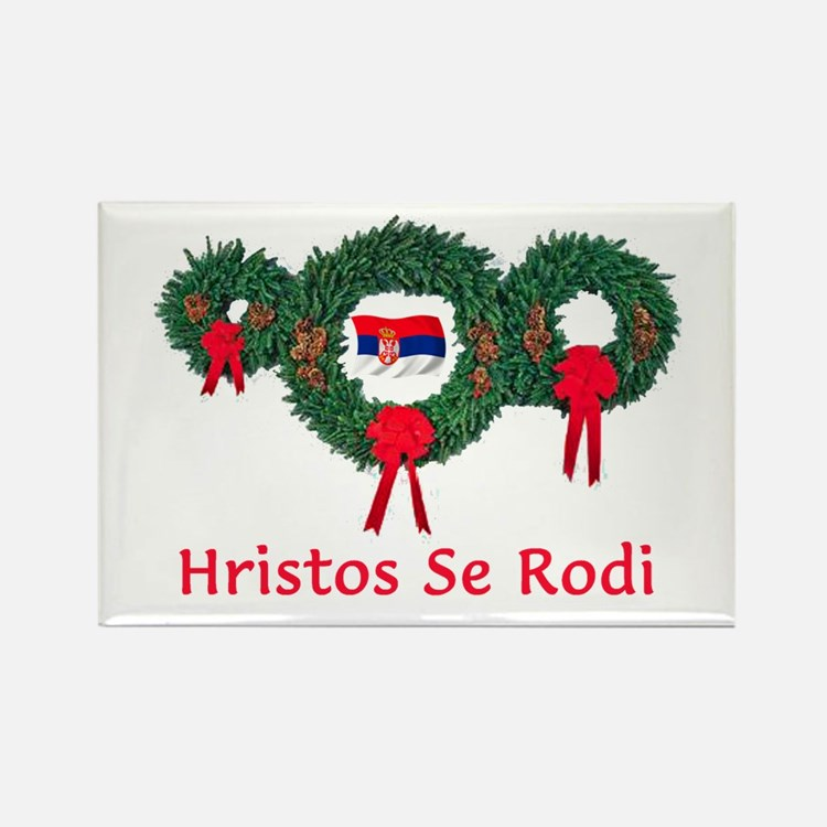 Serbia Christmas 2 Rectangle Magnet