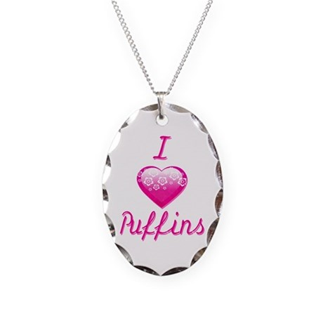 I Love/Heart Puffins Necklace Oval Charm