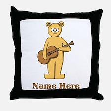 Bear Guitarist Custom Text. Throw Pillow