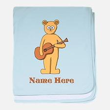 Bear Guitarist Custom Text. baby blanket