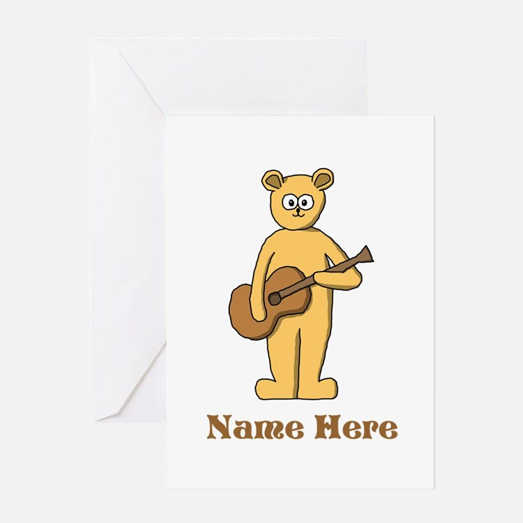 Bear Guitarist Custom Text. Greeting Card