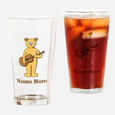 Bear Guitarist Custom Text. Drinking Glass