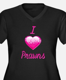 I Love/Heart Prawns Women's Plus Size V-Neck Dark