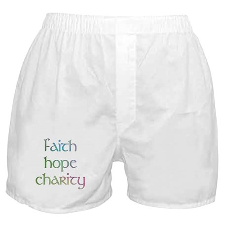 Faith Hope Charity watercolor Boxer Shorts