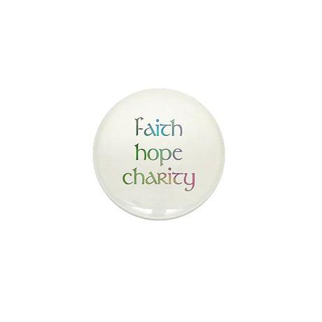 Faith Hope Charity watercolor Mini Button