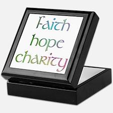 Faith Hope Charity watercolor Keepsake Box
