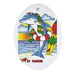 Dolphin Beach Oval Ornament
