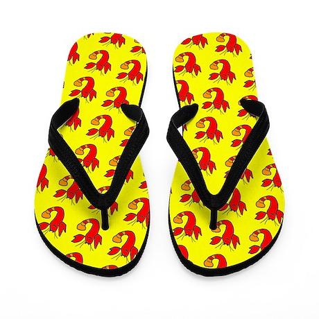 Red Yellow Lobster Boy Designer Flip Flops