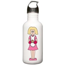 Lady in Pink with Dish. Water Bottle