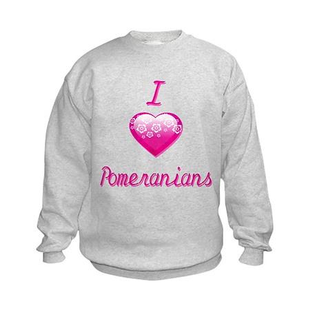 I Love/Heart Pomeranians Kids Sweatshirt