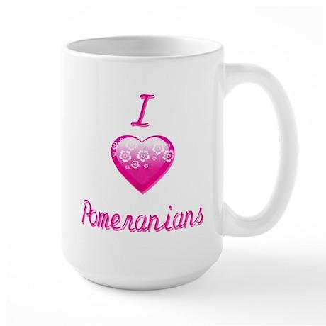 I Love/Heart Pomeranians Large Mug