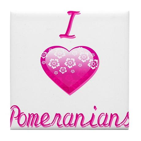 I Love/Heart Pomeranians Tile Coaster