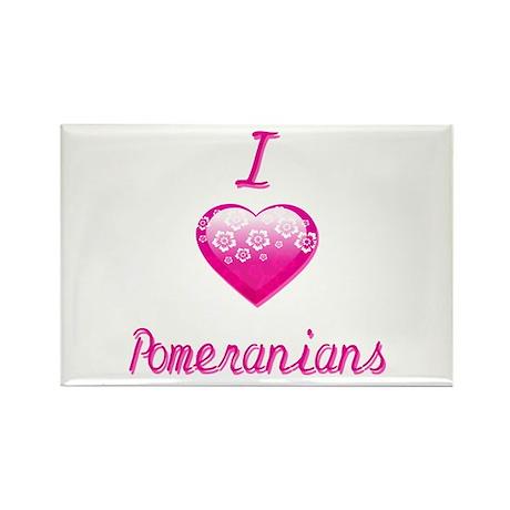 I Love/Heart Pomeranians Rectangle Magnet (10 pack