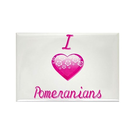 I Love/Heart Pomeranians Rectangle Magnet (100 pac
