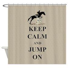 Keep Calm and Jump On Horse Shower Curtain