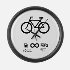 Bicycle Fuel Economy Large Wall Clock
