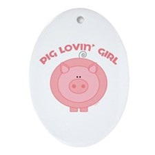 Funny Pig Ornament (Oval)