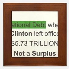 national debt when clinton left office Framed Tile