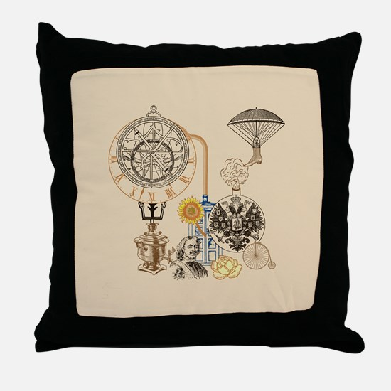 Steampunk Russo Victorian Time Contra Throw Pillow