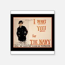 "World War I Navy Recruiting Square Sticker 3"" x 3"""