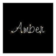 "Amber Spark Square Car Magnet 3"" x 3"""