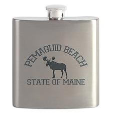 Pemaquid Beach ME - Moose Design. Flask