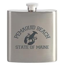Pemaquid Beach ME - Lobster Design. Flask