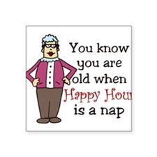 "Happy Hour Square Sticker 3"" x 3"""