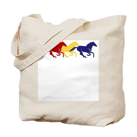 Wild Color Galloping Horses Tote Bag