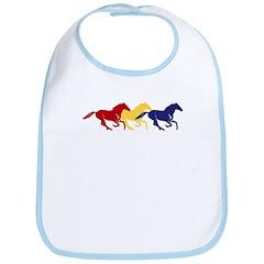 Wild Color Galloping Horses Bib