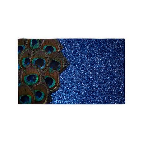 Glittery Blue peacock Feather 3'x5' Area Rug