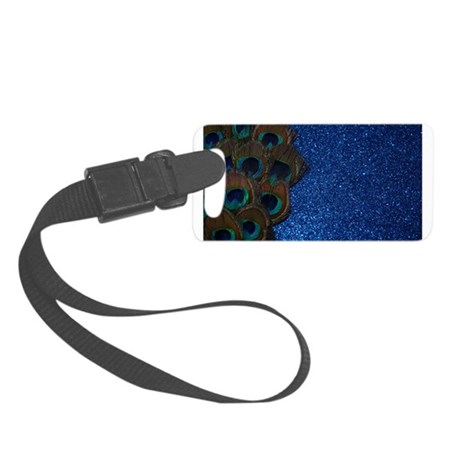 Glittery Blue peacock Feather Small Luggage Tag