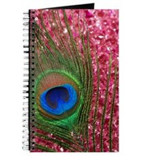 Rocky Pink Peacock Feather Journal