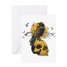 Skull and Crow Greeting Card