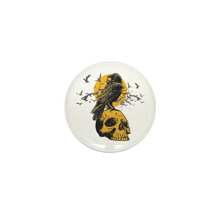Skull and Crow Mini Button (10 pack)