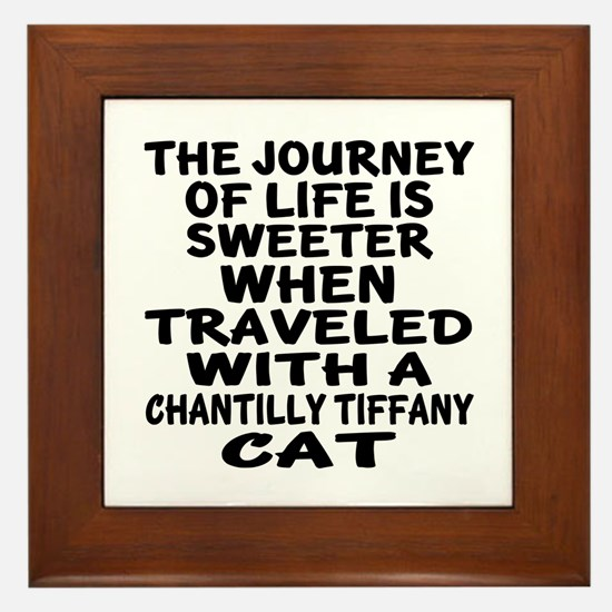 Traveled With chantilly tiffany Cat Framed Tile