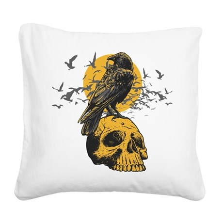Skull and Crow Square Canvas Pillow