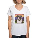 Pit Bull Meadow Women's V-Neck T-Shirt