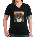 Pit Bull Meadow Women's V-Neck Dark T-Shirt