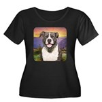Pit Bull Meadow Women's Plus Size Scoop Neck Dark