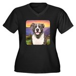 Pit Bull Meadow Women's Plus Size V-Neck Dark T-Sh
