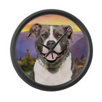 Pit Bull Meadow Large Wall Clock