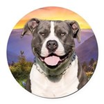Pit Bull Meadow Round Car Magnet