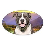 Pit Bull Meadow Sticker (Oval)