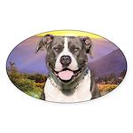 Pit Bull Meadow Sticker (Oval 50 pk)