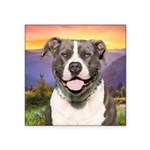 Pit Bull Meadow Square Sticker 3