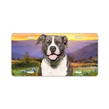 Pit Bull Meadow Aluminum License Plate